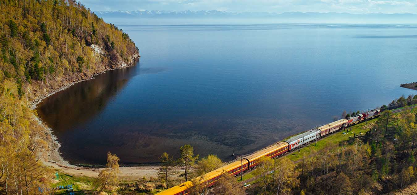 The Trans-Siberian Railroad Along Lake Baikal